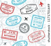 seamless passport stamps vector ... | Shutterstock .eps vector #1171701649