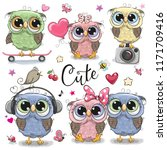 Stock vector set of cute cartoon owls on a white background 1171709416