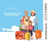 happy group of family traveler .... | Shutterstock .eps vector #1171715890