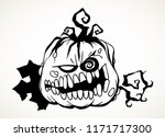 carved evil smiling pumpkin... | Shutterstock .eps vector #1171717300