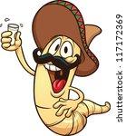 cartoon tequila worm. vector...