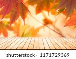 wood floor scene of autumn... | Shutterstock . vector #1171729369