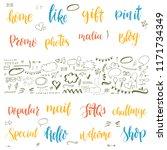 hand drawn set of lettering... | Shutterstock .eps vector #1171734349