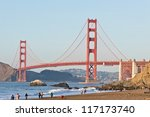 Sunny Saturday on Baker Beach in San Francisco. - stock photo