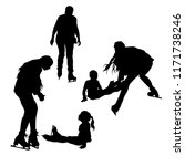 silhouettes of people skating.... | Shutterstock .eps vector #1171738246