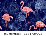 flamingo on a background .... | Shutterstock . vector #1171739023