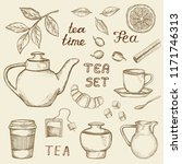 set of hand drawn tea icons... | Shutterstock .eps vector #1171746313