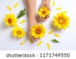 woman holding beautiful... | Shutterstock . vector #1171749550