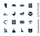 domestic icon. collection of 16 ... | Shutterstock .eps vector #1171757203