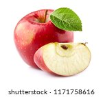 red apple with slice | Shutterstock . vector #1171758616