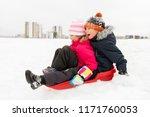 childhood  sledging and season... | Shutterstock . vector #1171760053
