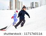 childhood  sledging and season... | Shutterstock . vector #1171760116