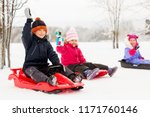 childhood  sledging and season... | Shutterstock . vector #1171760146