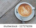 hot milk art coffee on wooden... | Shutterstock . vector #117176206