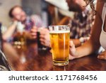 happy friends having fun at bar ... | Shutterstock . vector #1171768456