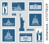 postage stamps set with... | Shutterstock .eps vector #1171778119