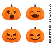 set of pumpkins with funny... | Shutterstock .eps vector #1171786360