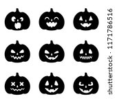 set of pumpkin faces for... | Shutterstock .eps vector #1171786516