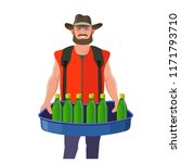 the man with vending tray.... | Shutterstock .eps vector #1171793710