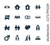 couple icon. collection of 16... | Shutterstock .eps vector #1171794229