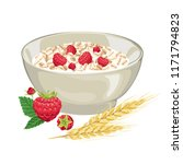 oatmeal with raspberries in a... | Shutterstock .eps vector #1171794823