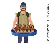 pitchman with beer hawker tray. ... | Shutterstock .eps vector #1171795099