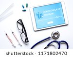 concept time health check up on ... | Shutterstock . vector #1171802470