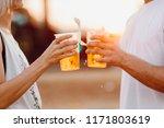 couple cheering with beer.... | Shutterstock . vector #1171803619