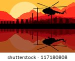 Industrial oil refinery factory landscape background with army helicopter illustration vector - stock vector