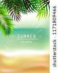 background sea and palm leaves | Shutterstock .eps vector #1171809466