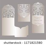laser cut wedding card template ... | Shutterstock .eps vector #1171821580