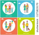 happy family childhood posters... | Shutterstock .eps vector #1171823170