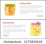 preserved fruit in glass jars... | Shutterstock .eps vector #1171824610