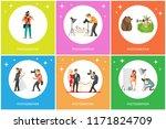 journalist making shots of... | Shutterstock .eps vector #1171824709