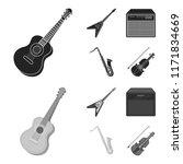 electric guitar  loudspeaker ... | Shutterstock .eps vector #1171834669