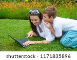 mother with her son on the... | Shutterstock . vector #1171835896