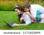 mother with her son on the... | Shutterstock . vector #1171835899