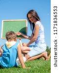 mathematics lesson on open air | Shutterstock . vector #1171836553