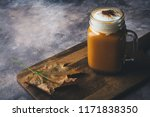 spice pumpkin latte or coffee... | Shutterstock . vector #1171838350