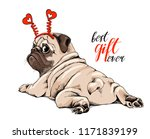 adorable beige puppy pug in a... | Shutterstock .eps vector #1171839199