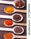 background with spices  ... | Shutterstock . vector #117184546