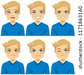 attractive blond hair young man ... | Shutterstock .eps vector #1171863160