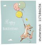 little kangaroo with balloon | Shutterstock .eps vector #1171866256