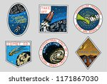 vintage space logo. exploration ... | Shutterstock .eps vector #1171867030