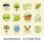 healthy organic food set or... | Shutterstock .eps vector #1171867510