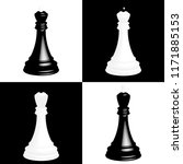 realistic chess pieces on black ... | Shutterstock . vector #1171885153