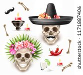 vector dia de los muertos... | Shutterstock .eps vector #1171887406