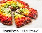 vegetarian rainbow pizza with... | Shutterstock . vector #1171896169