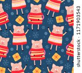 seamless pattern with pigs.... | Shutterstock .eps vector #1171903543