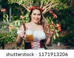 attractive girl in traditional... | Shutterstock . vector #1171913206